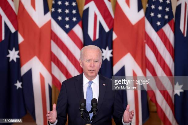 President Joe Biden speaks during an event in the East Room of the White House September 15, 2021 in Washington, DC. President Biden delivered his...