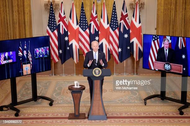 President Joe Biden speaks during an event in the East Room of the White House September 15, 2021 in Washington, DC. President Biden announced a new...