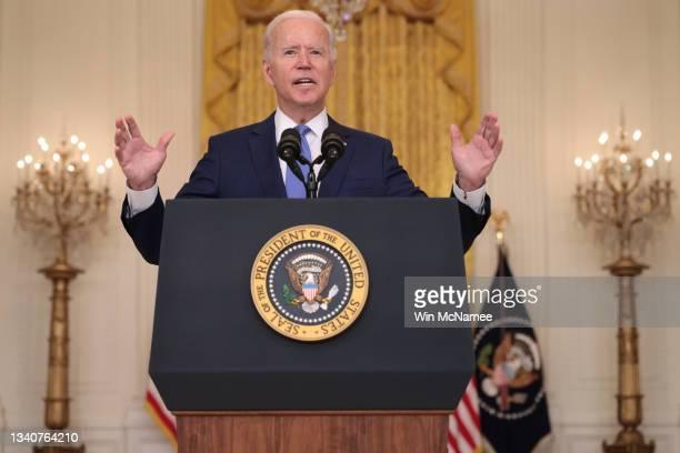 President Joe Biden speaks during an event in the East Room of the White House September 16, 2021 in Washington, DC. Biden spoke about the U.S....
