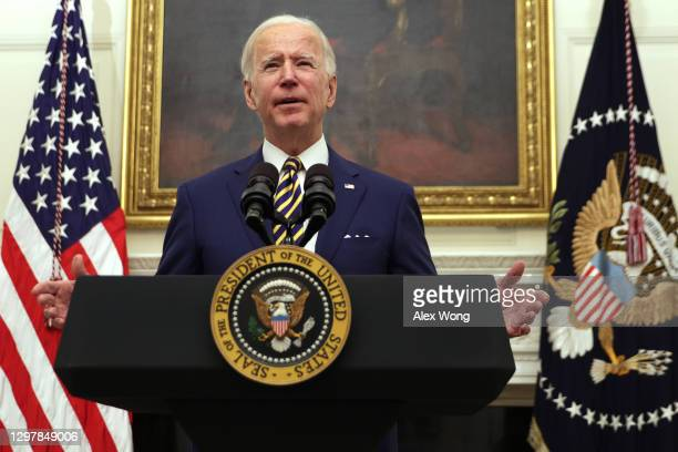 President Joe Biden speaks during an event on economic crisis in the State Dining Room of the White House January 22, 2021 in Washington, DC....