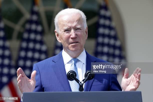 President Joe Biden speaks during an event on gun control in the Rose Garden at the White House April 8, 2021 in Washington, DC. Biden will sign...