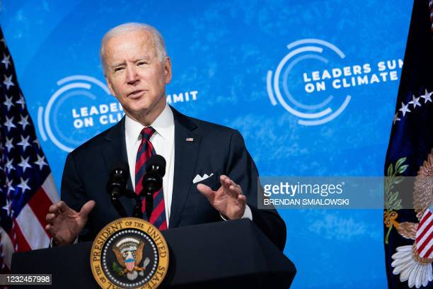 President Joe Biden speaks during climate change virtual summit from the East Room of the White House campus April 22 in Washington, DC. - President...