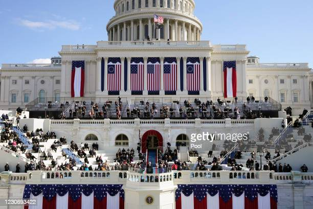 President Joe Biden speaks during his on the West Front of the U.S. Capitol on January 20, 2021 in Washington, DC. During today's inauguration...