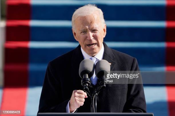 President Joe Biden speaks during the the 59th inaugural ceremony on the West Front of the U.S. Capitol on January 20, 2021 in Washington, DC. During...