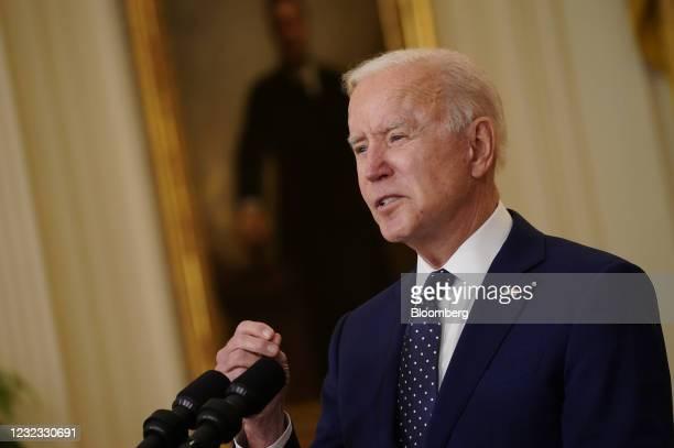 President Joe Biden speaks in the East Room of the White House in Washington, D.C., U.S., on Thursday, April 15, 2021. The Biden administration...