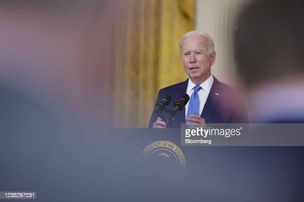 President Joe Biden speaks in the East Room of the White House in Washington, D.C., U.S., on Thursday, Sept. 16, 2021. Biden is set to ratchet up...