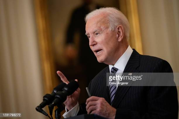 President Joe Biden speaks in the East Room of the White House on March 18, 2021 in Washington, DC. President Biden announced that his administration...
