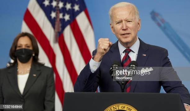 President Joe Biden speaks in the Eisenhower Executive Office Building in Washington, D.C., U.S., on Wednesday, April 7, 2021. Bidenpromoted his...