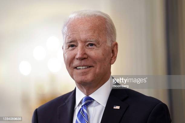 President Joe Biden speaks in the State Dining Room of the White House in Washington, D.C., U.S., on Monday, July 19, 2021. Stocksslumped around the...
