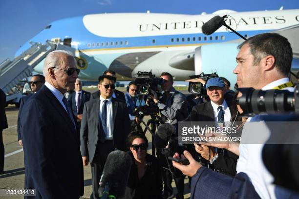 President Joe Biden speaks to members of the media at Heathrow, west of London, on June 13 having attended the G7 summit and visited Britain's Queen...