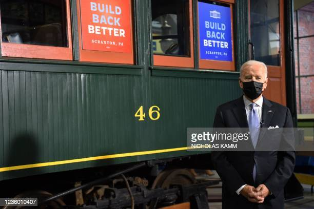 President Joe Biden tours the Electric City Trolley Museum as he promotes the Bipartisan Infrastructure Deal and Build Back Better in Scranton,...