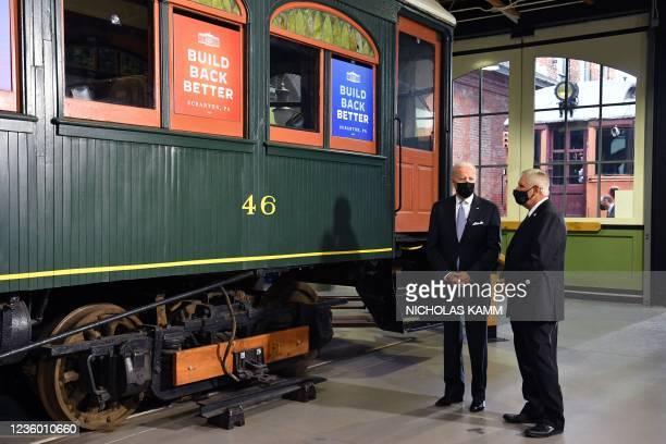 President Joe Biden tours the Electric City Trolley Museum with Wayne R. Hiller, Executive Director and Manager, Electric City Trolley Museum, as he...