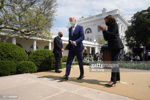President Joe Biden, Vice President Kamala Harris and Attorney General Merrick Garland depart an event on gun control in the Rose Garden at the White...