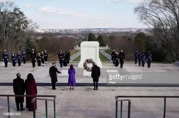 President Joe Biden, Vice President Kamala Harris, Major General Omar J. Jones, former U.S. President Barack Obama and his wife Michelle Obama attend...