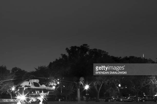 President Joe Biden walks from Marine One to an armored vehicle on the Ellipse outside the White House parameter, during South Lawn construction, May...