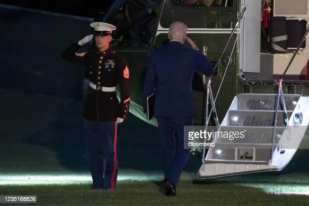 President Joe Biden walks on the South Lawn of the White House ahead of boarding Marine One in Washington, D.C., U.S., on Friday, Sept. 10, 2021....