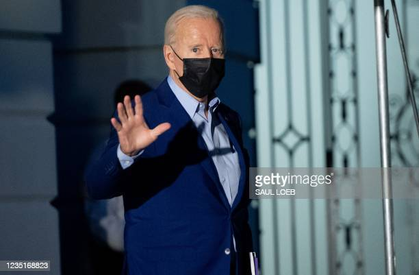 President Joe Biden waves as he walks to Marine One prior to departure from the South Lawn of the White House in Washington, DC, September 10 as he...