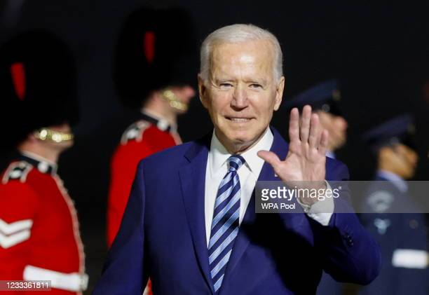President Joe Biden waves upon arrival at Cornwall Airport Newquay, on June 9, 2021 near Newquay, Cornwall, England. On June 11, Prime Minister Boris...