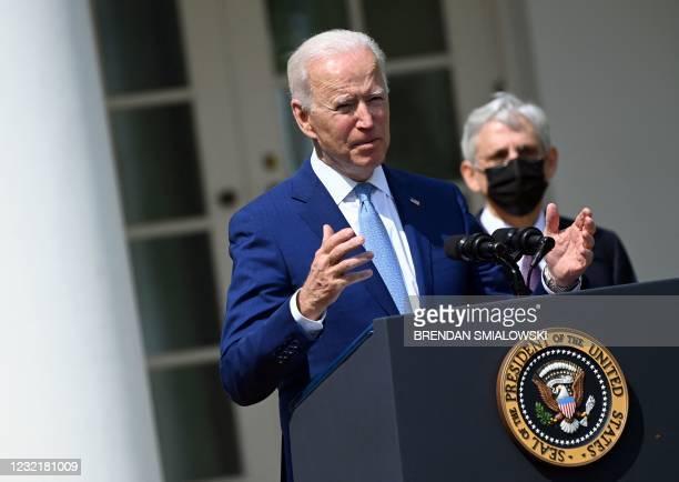 President Joe Biden, with Attorney General Merrick Garland, speaks about gun violence prevention in the Rose Garden of the White House in Washington,...