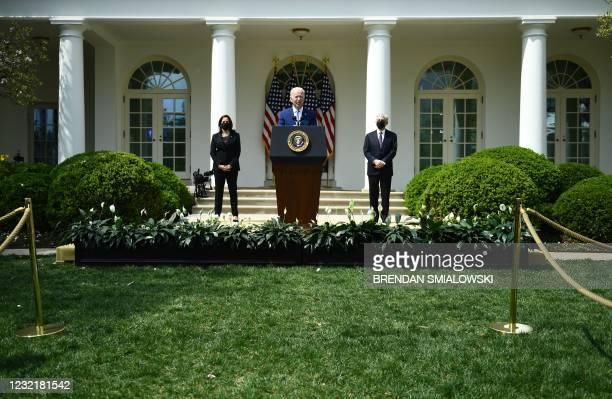 President Joe Biden, with Vice President Kamala Harris and Attorney General Merrick Garland, speaks about gun violence prevention in the Rose Garden...