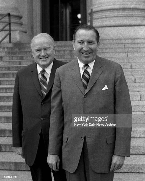 President Joe Cronin and NL President Chub Feeney leave Federal Court after appearing at Curt Flood trial contesting baseball's reserve clause on...