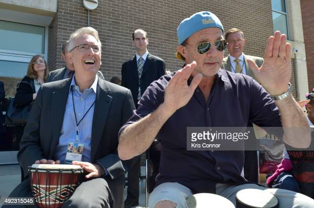 President Joe Lamond and Chad Smith attend NAMM's Music Learning Festival at Savoy Elementary School on May 19 2014 in Washington DC