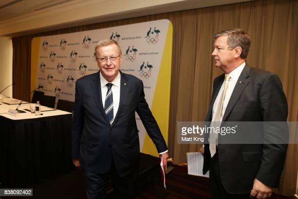 President John Coates and AOC CEO Matt Caroll leave an Australian Olympic Committee press conference at the Four Season Hotel on August 24 2017 in...