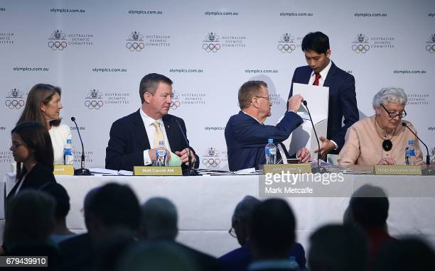 President John Coates casts his vote for the AOC Presidency during the Australian Olympic Committee Annual General Meeting at the Museum of...