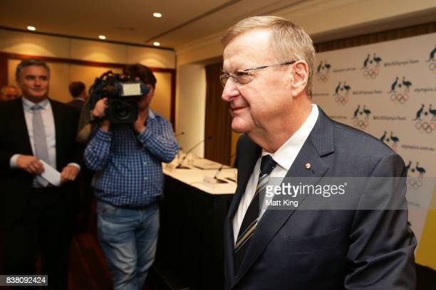 President John Coates leaves an Australian Olympic Committee press conference at the Four Season Hotel on August 24, 2017 in Sydney, Australia.