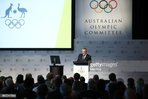 President John Coates speaks during the Australian Olympic Committee Annual General Meeting at the Hyatt Regency on April 28 2018 in Sydney Australia