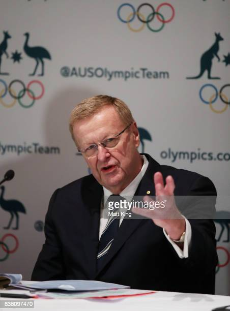 President John Coates speaks to the media during an Australian Olympic Committee press conference at the Four Season Hotel on August 24, 2017 in...