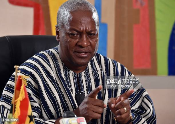 President John Dramani Mahama of Ghana Chairman of ECOWAS the west African regional bloc speaks following a meeting with Togolese President Faure...
