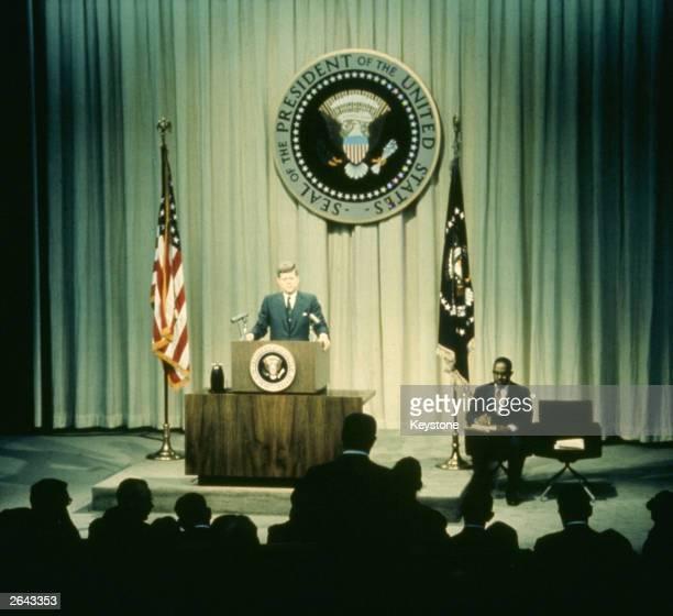 President John F Kennedy addresses a conference