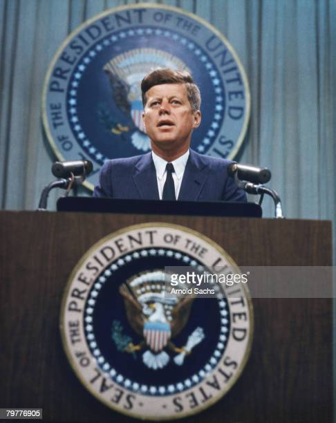 US President John F Kennedy addresses a press conference circa 1963