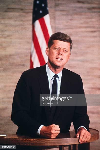 10/7/1960 President John F Kennedy addresses at the podium