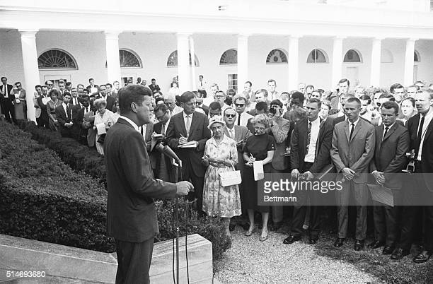 President John F Kennedy addresses journalists and members of the Peace Corps on August 28 1961 Kennedy is assigning the volunteers their first...