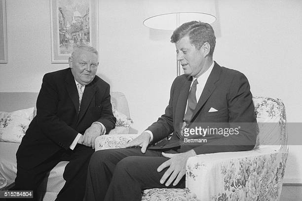 US President John F Kennedy and Chancellor of West Germany Ludwig Erhard talk in hotel room in Wiesbaden Germany