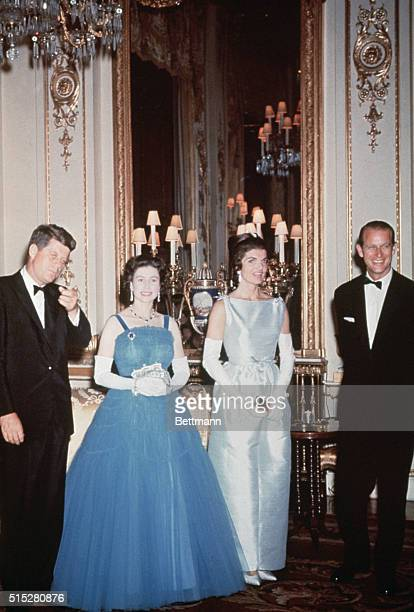 President John F Kennedy and First Lady Jackie Kennedy pay a visit to the royal family in England John F Kennedy Queen Elizabeth II Jackie Kennedy...