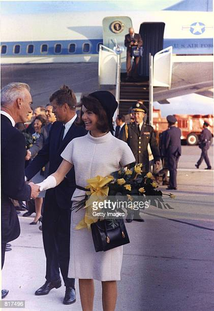President John F. Kennedy and First Lady, Jacqueline Bouvier Kennedy , arrive at Brooks Air Force Base in San Antonio, Texas, November 21, 1963. The...