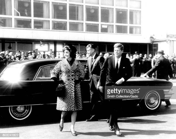 US President John F Kennedy and Jacqueline Kennedy exit an automobile 1961 Courtesy Abbie Row/National Parks Service