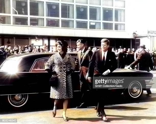 US President John F Kennedy and Jacqueline Kennedy exit an automobile 1961 Courtesy Abbie Row/National Parks Service Note Image has been digitally...