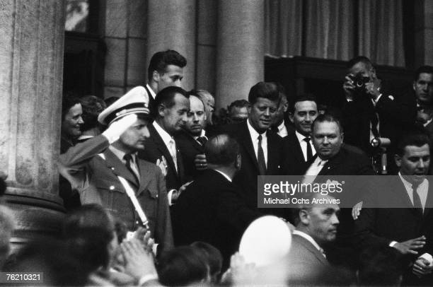President John F Kennedy arrives at Rudolph Wilde Platz for his famous 'Ich bin ein Berliner' speech on June 26 in Berlin West Germany