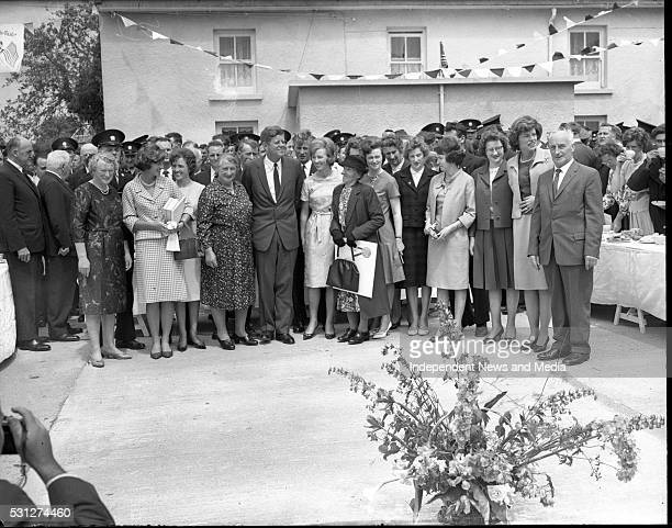 President John F Kennedy at the ancestral family home at Dunganstown Co Wexford during his visit to Ireland circa June 1963