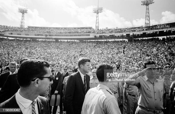 President John F Kennedy at the Orange Bowl stadium during a salute to Bay of Pigs veterans in Miami Florida January 1963