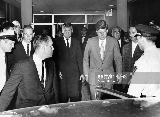 President John F Kennedy center leaves Children's Hospital in Boston after visiting his son on Aug 7 1963 His third son Patrick Bouvier Kennedy was...