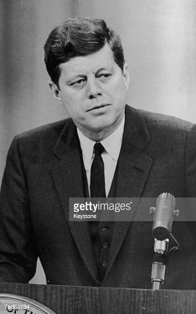 US President John F Kennedy condemns Russian policy on Laos at a Washington press conference 25th March 1961