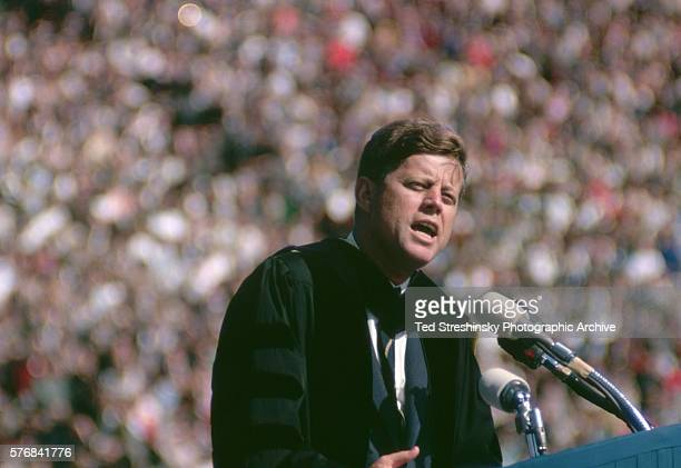 President John F Kennedy delivers the commencement address for the University of California at Berkeley graduating class of 1962 After giving the...