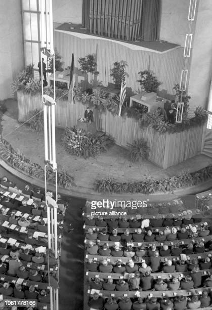US president John F Kennedy during his visit in Frankfurt am Main on 25 June 1963 speaking at the historical Paulskirche