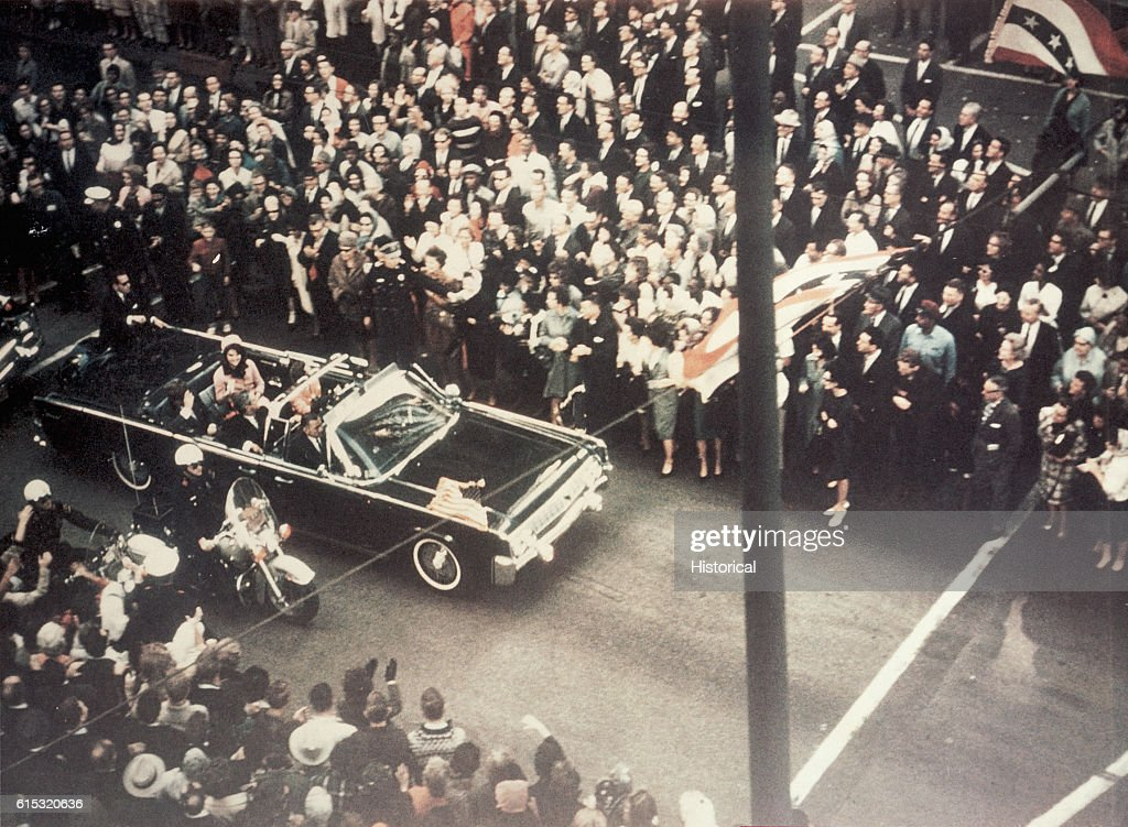 President John F. Kennedy, First Lady Jacqueline Kennedy, and Texas Governor John Connally ride through the streets of Dallas, Texas prior to the assassination on November 22, 1963. Included as an exhibit for the Warren Commission.