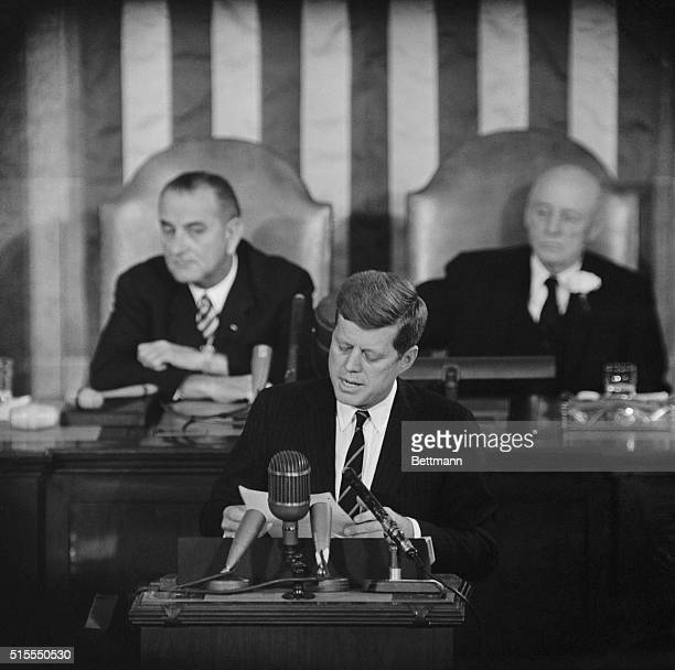 President John F Kennedy gives his first State of the Union Address to a joint session of Congress He wants to quickly fix the receding economy and...